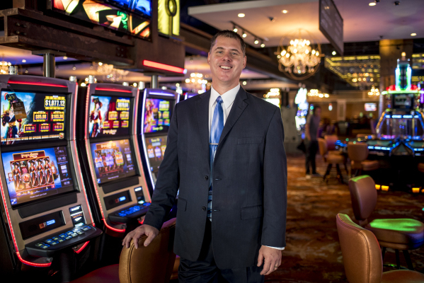 Jim Simms, CEO of the Downtown Grand, poses on the gaming floor of the Downtown Grand hotel-casino in Las Vegas on Thursday, Sept. 24, 2015. (Joshua Dahl/Las Vegas Review-Journal)