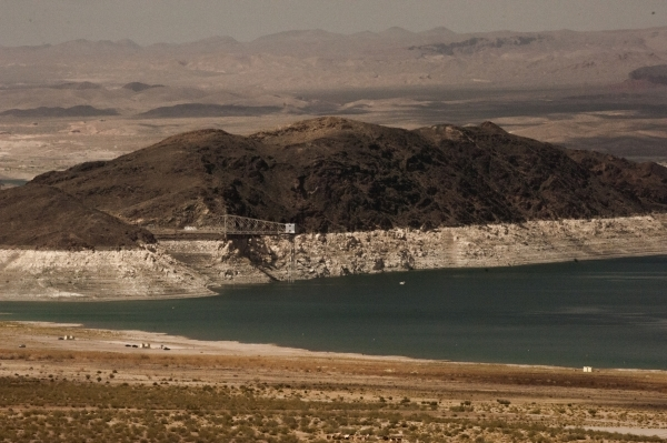 """The """"bathtub ring"""" on Saddle Island is shown at Lake Mead Thursday, April 23, 2015. The reservoir east of Las Vegas is expected to reach a new record low this weekend and continue downwa ..."""