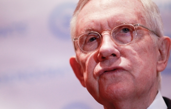 U.S. Sen. Harry Reid, D-Nev., speaks with news media ahead of the CNN Democratic presidential debate at the Wynn hotel-casino in Las Vegas on Tuesday, Oct. 13, 2015. Chase Stevens/Las Vegas Review ...