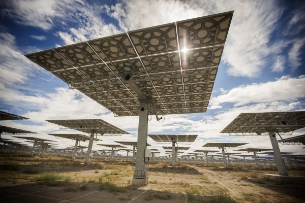 Heliostats is seen Thursday, Oct. 15, 2015 at the Crescent Dunes Solar Project, located 11 miles northwest of Tonopah. The molten salt 110 MW facility has over 10,000 tracking mirrors. Jeff Scheid ...