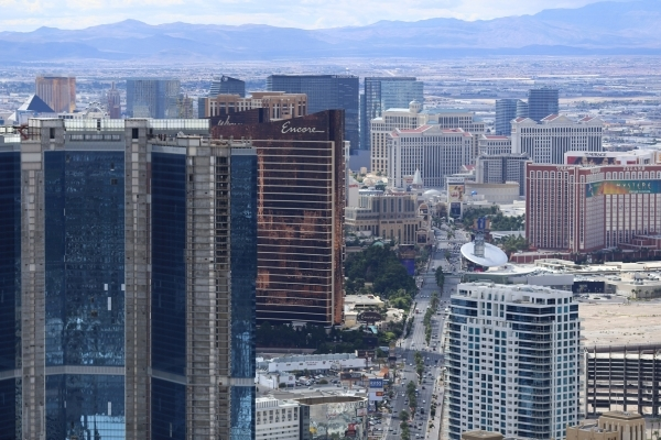 The Fontainebleau, left foreground, is seen with the Strip in the background in this photo from floor 108 of the Stratosphere on Thursday, Oct. 29, 2015 in Las Vegas. Brett Le Blanc/Las Vegas Revi ...