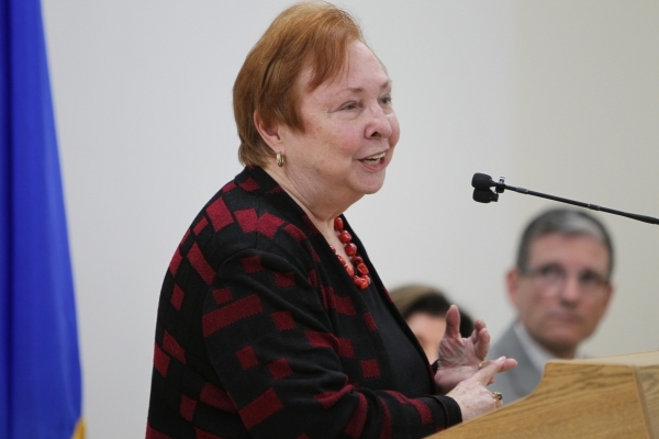 Dr. Barbara Atkinson, dean of the UNLV School of Medicine, speaks during a press conference on a state budget proposal of $10 million that could be used for residency training for medical school g ...
