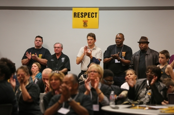 Supporters listen to Larry Griffith, the Secretary-Treasurer of Teamsters Local 14, speak at the Cashman Center after a vote that ousted the ESEA in favor of Teamsters Local 14 as the labor union  ...