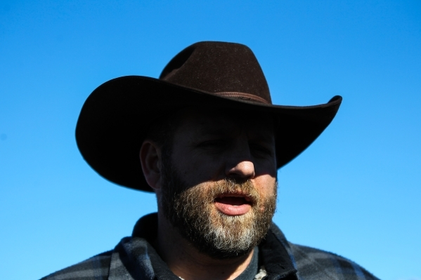 Ammon Bundy speaks during a news conference by the entrance of Malheur National Wildlife Refuge headquarters near Burns, Ore. on Friday, Jan. 8, 2016. Chase Stevens/Las Vegas Review-Journal Follow ...