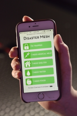 The home screen for Disaster Mesh is shown at 6795 S. Edmond St. in Las Vegas on Thursday, Jan. 14, 2016. The company, which was co-founded by local high school senior Katelyn Dunn, was awarded $2 ...