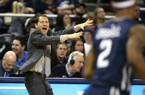 Nevada Head Coach Eric Musselman works the sidelines of a men's college basketball game against UNLV in Reno, Nev., on Saturday, Jan. 23, 2016. Cathleen Allison/Las Vegas Review-Journal