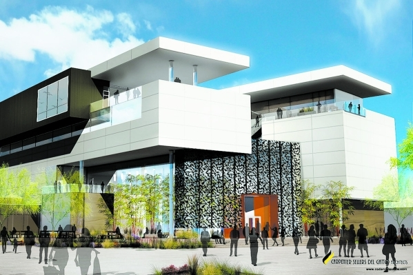 A rendering shows the $56 million building that will house the Harrah College of Hotel Administration at UNLV. The Marriott Foundation has pledged $2.5 million toward construction of the building. ...