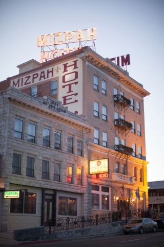 The exterior of the Mizpah Hotel in Tonopah is seen Thursday, Jan. 28, 2016. California vintners Nancy and Fred Cline, owners of Cline Cellars winery in Sonoma, Calif., restored and own the Mizpah ...
