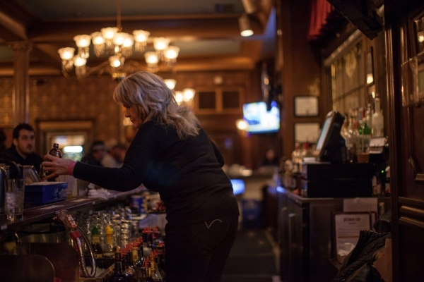 Bartender Debbie Melott works at the Mizpah Hotel in Tonopah on Thursday, Jan. 28, 2016. California vintners Nancy and Fred Cline, owners of Cline Cellars winery in Sonoma, Calif., restored and ow ...