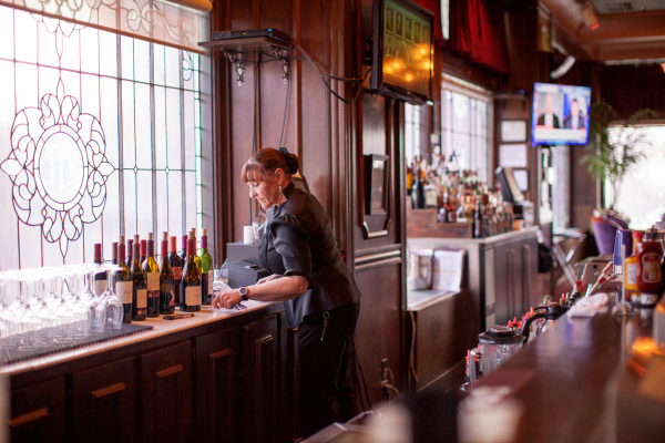 Bartender Michele Brandt works at the Mizpah Hotel in Tonopah on Thursday, Jan. 28, 2016. California vintners Nancy and Fred Cline, owners of Cline Cellars winery in Sonoma, Calif., restored and o ...