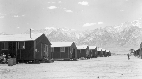A row of barracks at the relocation center in Manzanar, California, is shown in this photo from July 1942. DOROTHEA LANGE/JAPANESE AMERICAN RELOCATION DIGITAL ARCHIVE