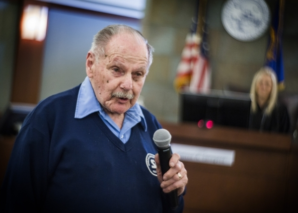 Guest speaker Marvin Davis,92, a World War II veteran,  address the court about his life challenges during Veteran's Court Treatment Program, hearing in Las Vegas Municipal Court  on Friday, ...