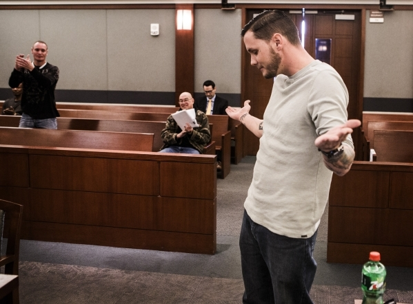 Combat veteran Alex Franco acknowledges the accolades during Veteran's Court Treatment Program hearing in Las Vegas Municipal Court on Friday, Jan. 22, 2016. The alternative program is for v ...