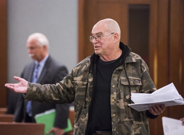 Vietnam veteran Gary Collins speaks during Veteran's Court Treatment Program, at a hearing in Las Vegas Municipal Court  on Friday, Jan. 22, 2016. The alternative program is for veterans cha ...