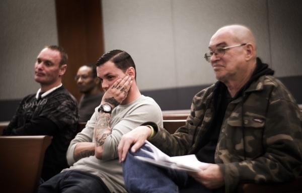 Veteran defendants Feldon Steiger,left, Alex Franco and Gary Collins attend Veteran's Court Treatment Program hearing in Las Vegas Municipal Court on Friday, Jan. 22, 2016. The alternative p ...