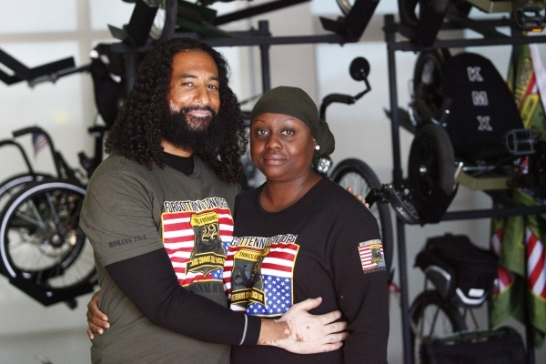 Peter and Kelley Guidry who run Forgotten Not Gone, a nonprofit organization in North Las Vegas dedicated to helping save veterans and their families from the destruction of suicide, talk about ho ...