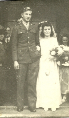 Earl Kenneth Simpson and his wife, Margarette, are photographed on their wedding day, Nov. 5, 1945. Special to View