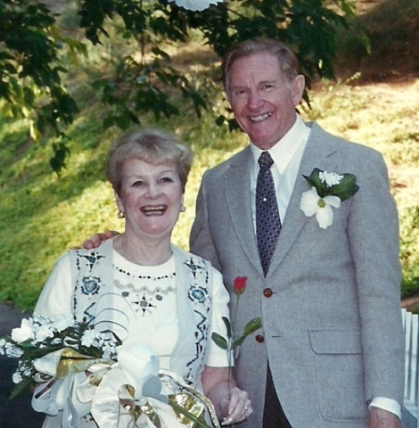 Earl Kenneth Simpson and his wife, Margarette, are photographed celebrating their 50th anniversary on Nov. 5, 1995. The couple first met when Earl was stationed in Wales during World War II and ha ...