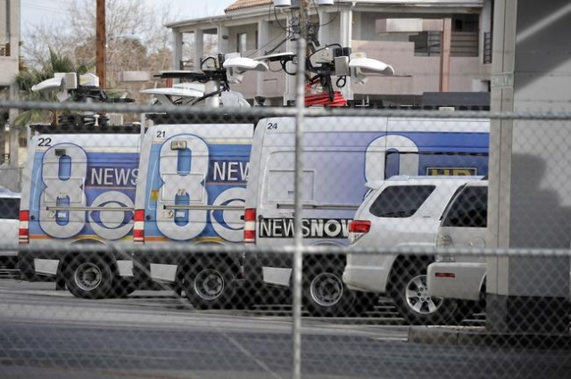 Television station KLAS's news vans are seen parked at the Channel 8 studios Friday, Jan. 22, 2016, in Las Vegas. David Becker/Las Vegas Review-Journal
