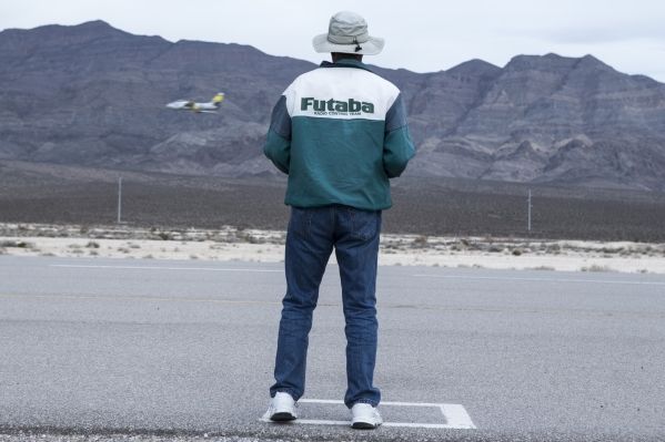 Frank Kelley, 76, president of PropNuts, a group for remote-controlled modelers, flies a plane at the Willie McCool Regional Park air field on Friday, Jan. 22, 2016, in North Las Vegas. Erik Verdu ...
