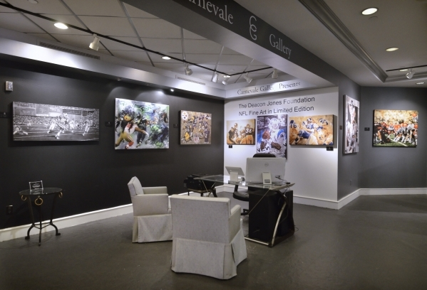 Part of the interior of the Carnevale Gallery is shown with ìThe Deacon Jones Foundation NFL Fine Art in Limited Editionî exhibit at the Caesars Palace hotel-casino at 3570 Las Vegas Blvd. S ...