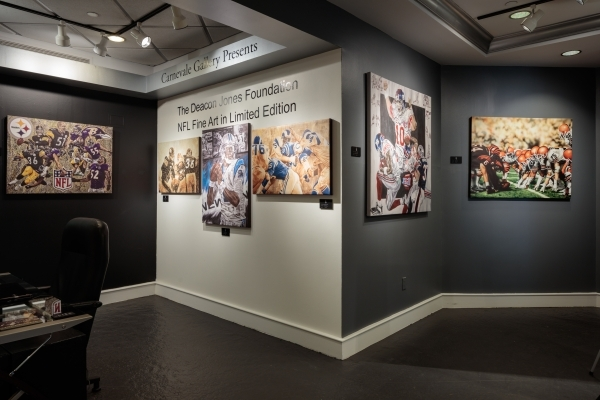 An overview of the NFL art exhibit at the Carnevale Gallery in Caesars Palace, which continues through Super Bowl Sunday. COURTESY JOHN MASTROGIACOMO/SPECTRA VIDEO