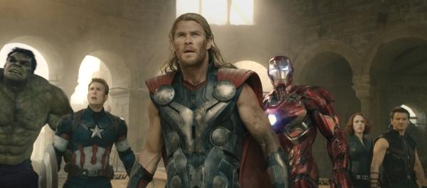 Marvel's Avengers: Age Of Ultron  L to R: Hulk (Mark Ruffalo), Captain America (Chris Evans), Thor (Chris Hemsworth), Iron Man (Robert Downey Jr.), Black Widow (Scarlett Johansson), and Hawk ...