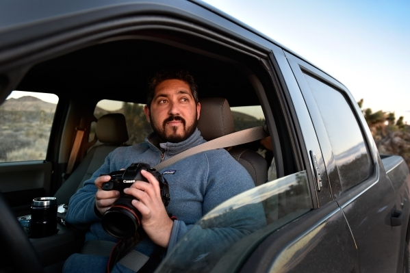 Director David Lamfrom of the California Desert and National Wildlife program peers out his truck window as he tours the high desert area of the Castle Mountains Monday, Feb. 1, 2016. A 29,000 acr ...
