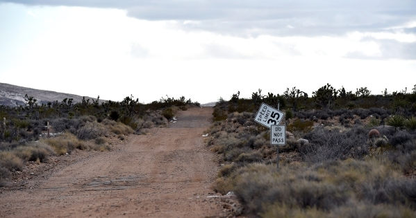 A dirt trail cuts through the high desert near the Castle Mountains Monday, Feb. 1, 2016. A 29,000 acre parcel southwest of Searchlight in California is proposed as a national monument to protect  ...