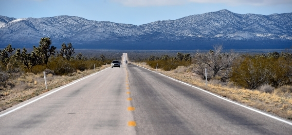 Motorists travel along Nipton Road, west of Searchlight, on Monday, Feb. 1, 2016. A 29,000 acre parcel southwest of Searchlight in California is proposed as a national monument to protect an area  ...