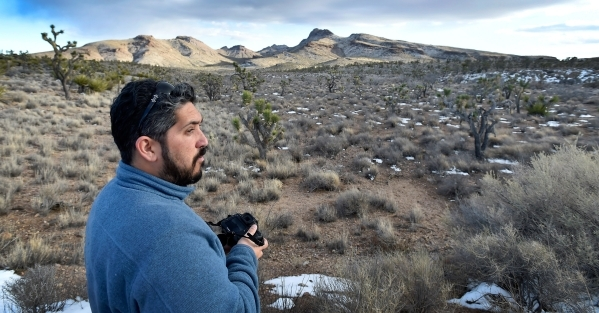 Director David Lamfrom of the California Desert and National Wildlife looks on as he tours the high desert area of the Castle Mountains Monday, Feb. 1, 2016. A 29,000 acre parcel southwest of Sear ...