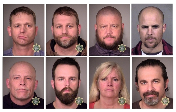 Inmates (clockwise from top left) Ryan Bundy, Ammon Bundy, Brian Cavalier, Jon Ritzheimer, Peter Santilli, Shawna Cox, Ryan Payne and Joseph O'Shaughnessy are seen in a combination of police ...