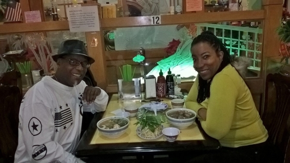 Rejj Smooth, left, and Al-yasha Anderson enjoy a meal in January 2016. The two met when jazz brought them together. Both are involved with trying to re-open the famous Las Vegas landmark, Moulin R ...