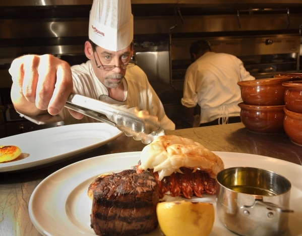 Room chef Matt Stuart adds lobster to a dish at Alder and Birch in the Orleans hotel-casino at 4500 W. Tropicana Ave. in Las Vegas on Monday, Feb. 1, 2016. Bill Hughes/Las Vegas Review-Journal