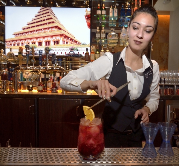 Nicole Kohri mixes a winter sangria at Alder and Birch in the Orleans hotel-casino at 4500 W. Tropicana Ave. in Las Vegas on Monday, Feb. 1, 2016. Bill Hughes/Las Vegas Review-Journal