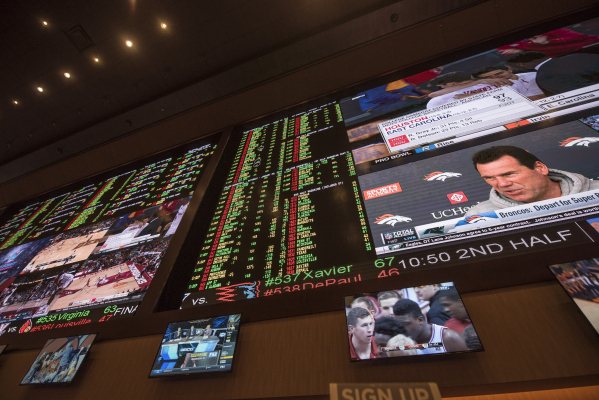 Screens display Super Bowl odds at the Red Rock Resort sports book in Las Vegas on Saturday, Jan. 30, 2016. Joshua Dahl/Las Vegas Review-Journal