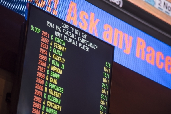 Screens displaying Super Bowl odds are seen at the Red Rock Resort sports book in Las Vegas on Saturday, Jan. 30, 2016. Joshua Dahl/Las Vegas Review-Journal