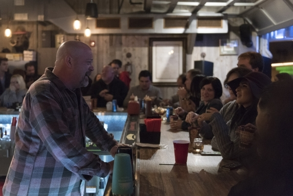 Rick Harrison chats with fans in the upstairs bar at Rollin Smoke Barbeque in Pawn Plaza at 725 Las Vegas Blvd. South in Las Vegas Friday, Jan. 29, 2016. Jason Ogulnik/Las Vegas Review-Journal