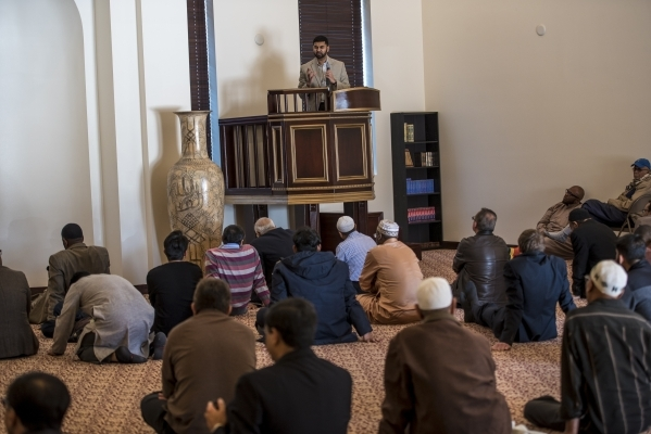 Athar Haseebullah speaks during prayer service at Masjid Ibraham in Las Vegas on Friday, Jan. 29, 2016. The mosque opened over the weekend. Joshua Dahl/Las Vegas Review-Journal