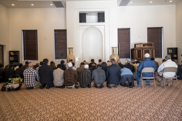Members pray together at Masjid Ibraham in Las Vegas on Friday, Jan. 29, 2016. The mosque opened over the weekend. Joshua Dahl/Las Vegas Review-Journal