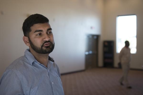 Athar Haseebullah speaks to a reporter at Masjid Ibrahim during a neighborhood get together for the mosque's opening weekend in Las Vegas Saturday, Jan. 30, 2016. Jason Ogulnik/Las Vegas Rev ...
