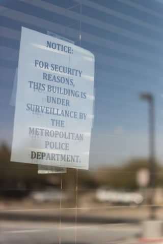 Signage telling of Masjid Ibrahim's security is seen on the mosque's window in Las Vegas Saturday, Jan. 30, 2016. Jason Ogulnik/Las Vegas Review-Journal