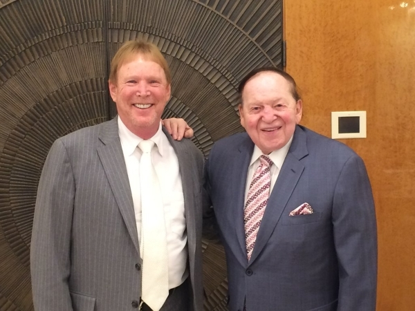 "Oakland Raiders owner Mark Davis, left, is seen with Las Vegas Sands Chairman and CEO Sheldon Adelson in this photo from the Las Vegas Sands Twitter page Friday, Jan. 29, 2016. ""@LasVegasSand ..."