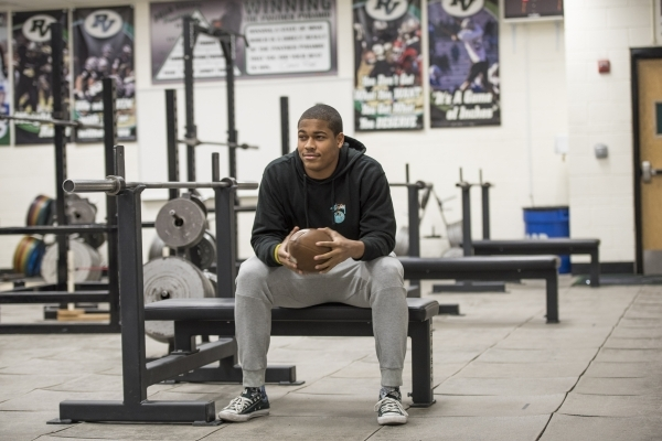 UNR football commit Kameron Toomer poses for a photo in the Palo Verde High School weight room in Las Vegas on Monday, Feb. 1, 2016. Joshua Dahl/Las Vegas Review-Journal