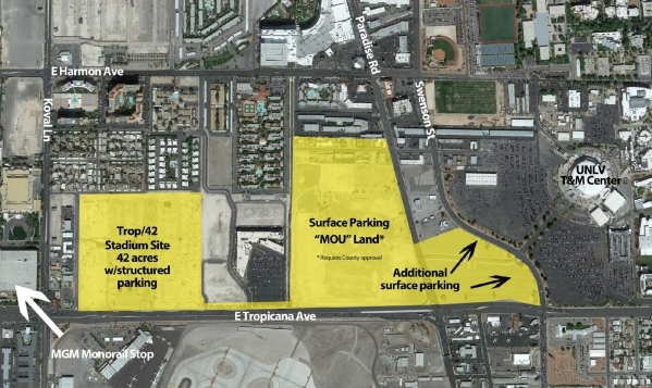 The proposed UNLV stadium for a 42-acre lot near the university will have more than 60,000 seats and will host UNLV football games, boxing and UFC bouts and Vegas-branded music festivals. Renderin ...