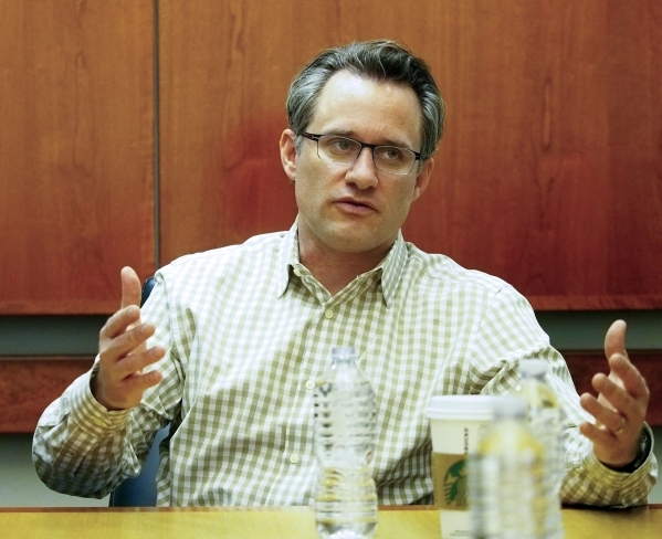 Jude Bricker, chief operating officer of Allegiant Air, answers questions during an editorial board meeting at the Las Vegas Review-Journal, Monday, Feb. 1, 2016. Jerry Henkel/Las Vegas Review-Jou ...