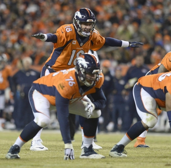 Jan 3, 2016; Denver, CO, USA; Denver Broncos quarterback Peyton Manning (18) audibles at the line of scrimmage in the fourth quarter against the San Diego Chargers at Sports Authority Field at Mil ...