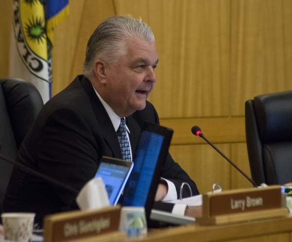 Clark County Commission Chairman Steve Sisolak talks during a commission meeting in the Clark County Government Center in Las Vegas on Tuesday, Feb. 2, 2016. The commission discussed a possible or ...