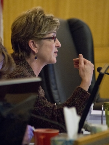 Clark County Commissioner Chris Giunchigliani talks during a commission meeting in the Clark County Government Center in Las Vegas on Tuesday, Feb. 2, 2016. The commission discussed a possible ord ...