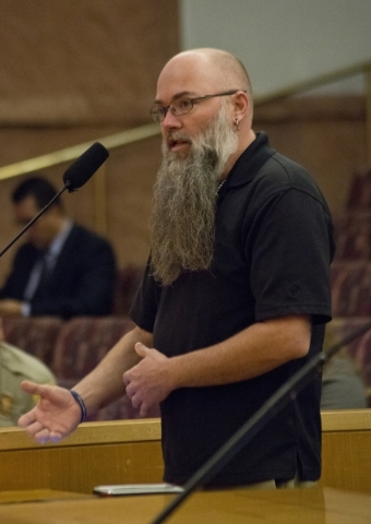 Joshua Cowart speaks against an possible ordinance that would prohibit the sale of certain animals during a Clark County Commission meeting in the Clark County Government Center in Las Vegas on Tu ...